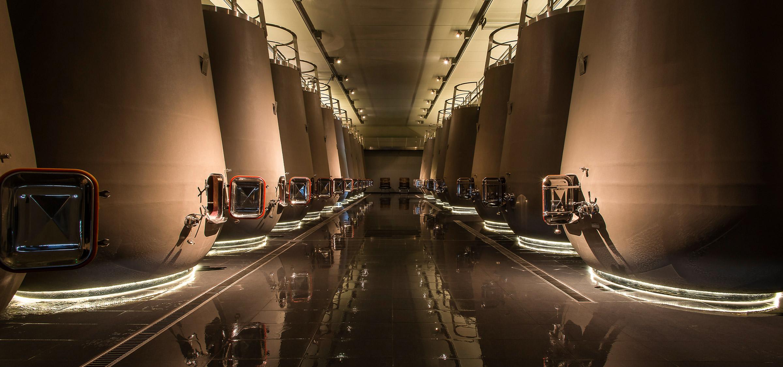 Tulip vat room, architect Sylvain Lagarde – Archi Concept – Château Prieuré Lichine, Margaux, Médoc